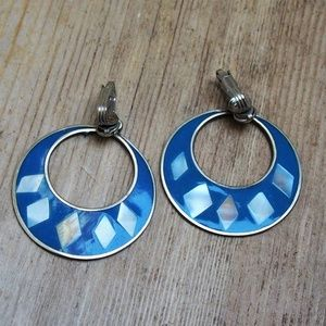 VTG Hecho en Mexico Enamel MOP Inlay Earrings